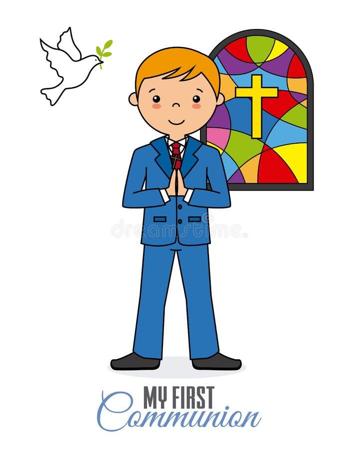 muchacho que ruega en iglesia stock de ilustración
