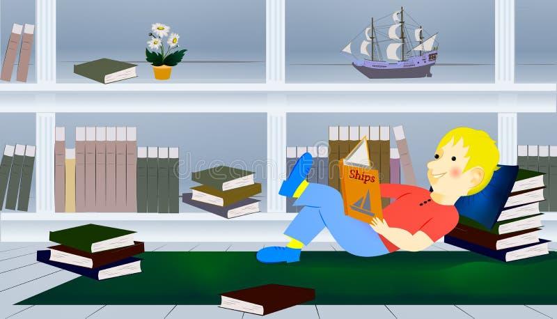 Muchacho que se relaja en el piso que lee un libro imagen de archivo