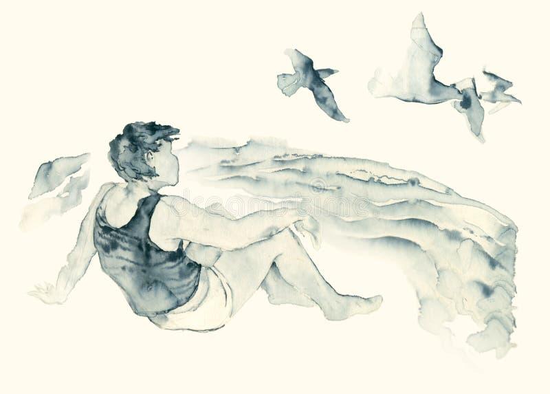 Muchacho que se sienta en la tinta azul de la orilla de mar stock de ilustración