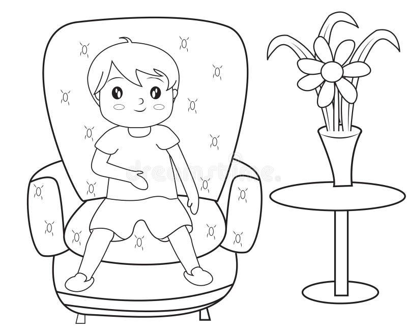 Muchacho que se sienta en una página del colorante del sofá stock de ilustración