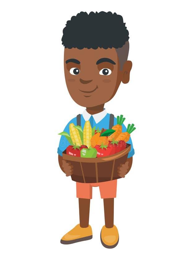 Muchacho que sostiene la cesta con la fruta y verdura ilustración del vector