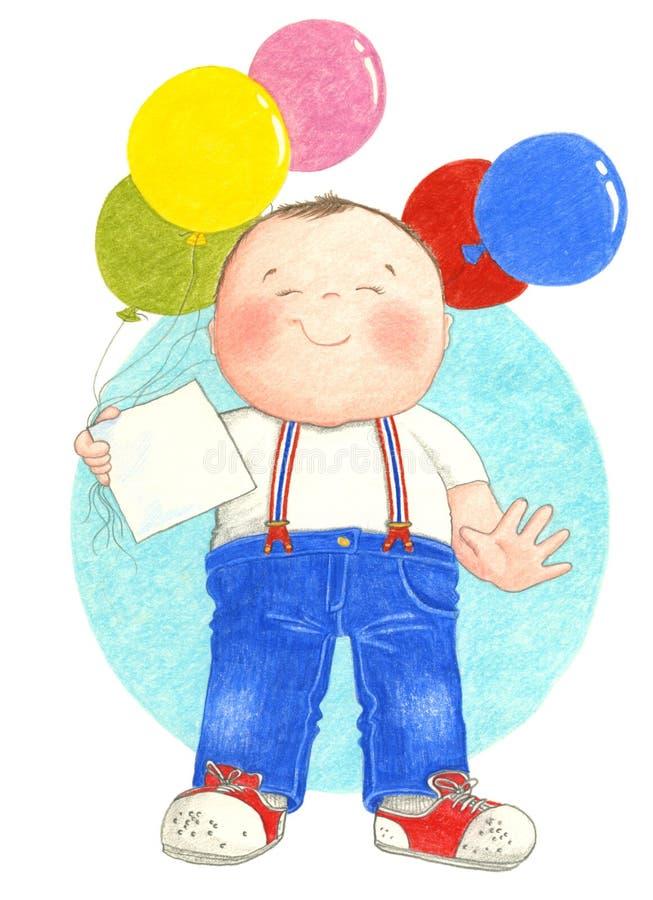 Muchacho que sostiene los globos libre illustration