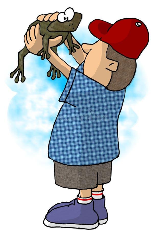 Muchacho que sostiene una rana ilustración del vector