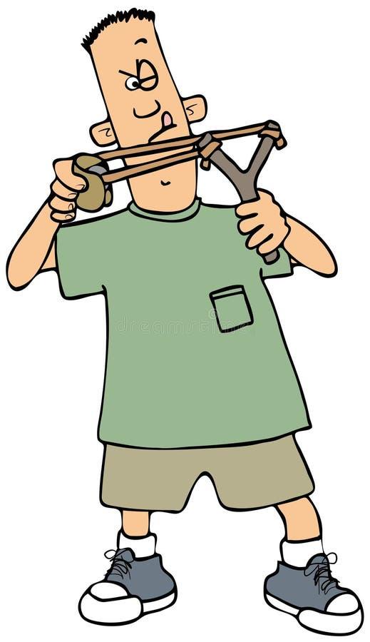 Muchacho que tira una catapulta ilustración del vector