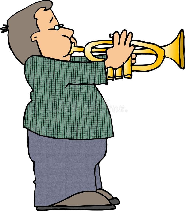 Muchacho que toca una trompeta ilustración del vector