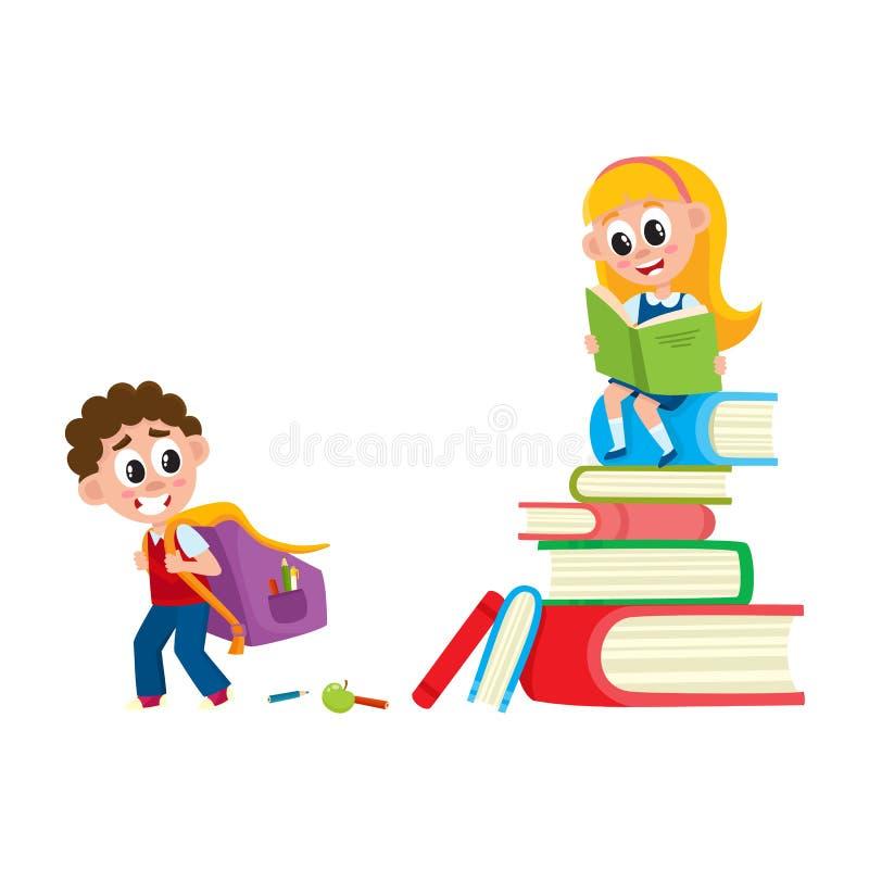 Muchacho que va a la escuela, muchacha que se sienta en pila del libro ilustración del vector
