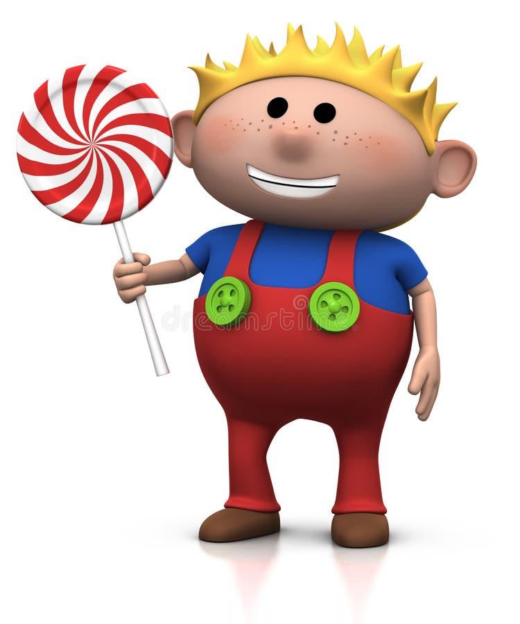 Muchacho rubio con el lollipop ilustración del vector