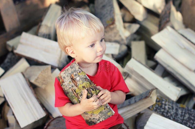 Muchacho rubio del niño lindo con el álamo temblón abrir una sesión la pila de fondo de la leña Forma de vida del país fotografía de archivo libre de regalías