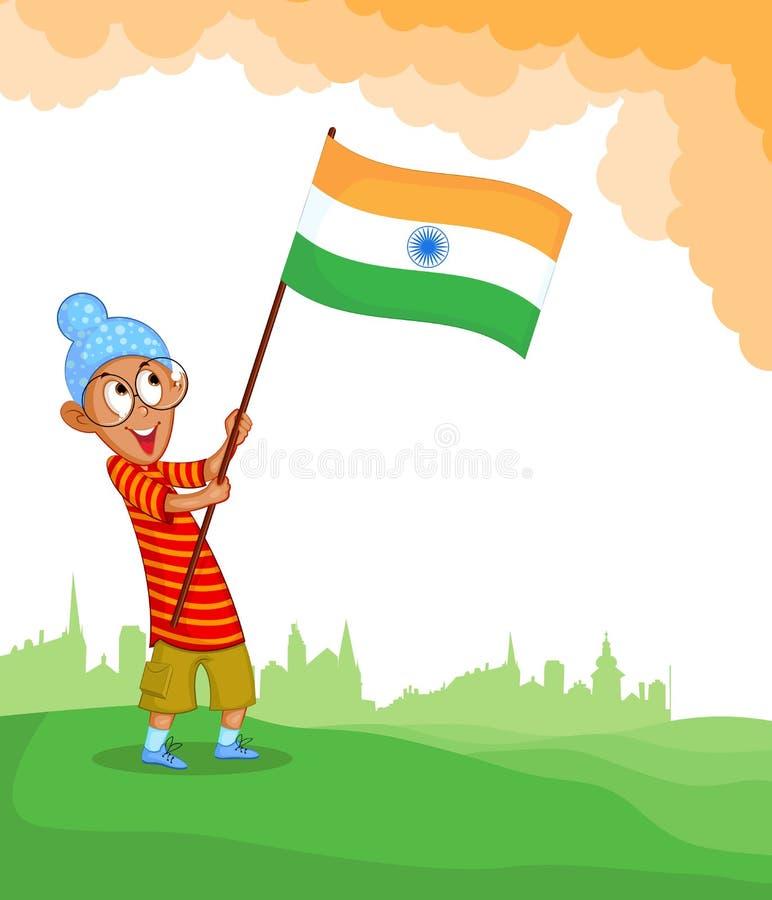 Muchacho sikh que alza la bandera india ilustración del vector