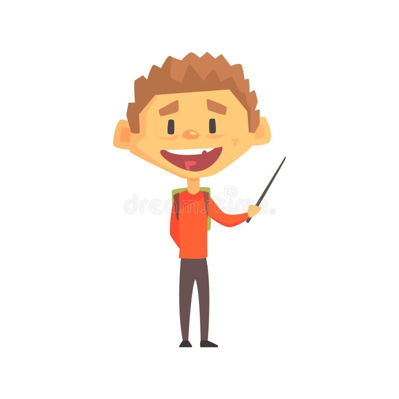 Muchacho sonriente con el indicador, niño de la escuela primaria, miembro elemental de la clase, estudiante joven aislado Charact stock de ilustración