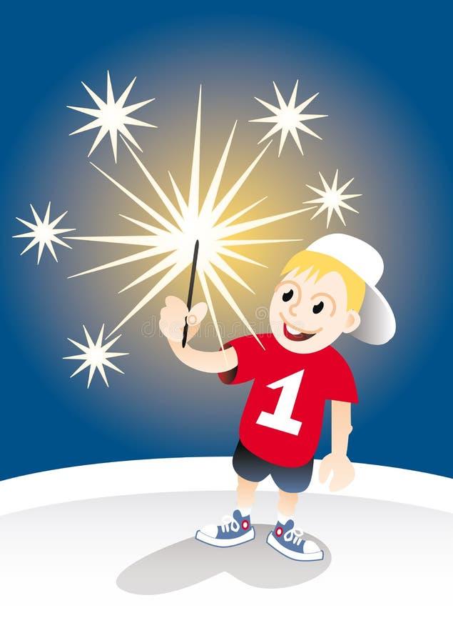 Muchacho sonriente con el sparkler stock de ilustración