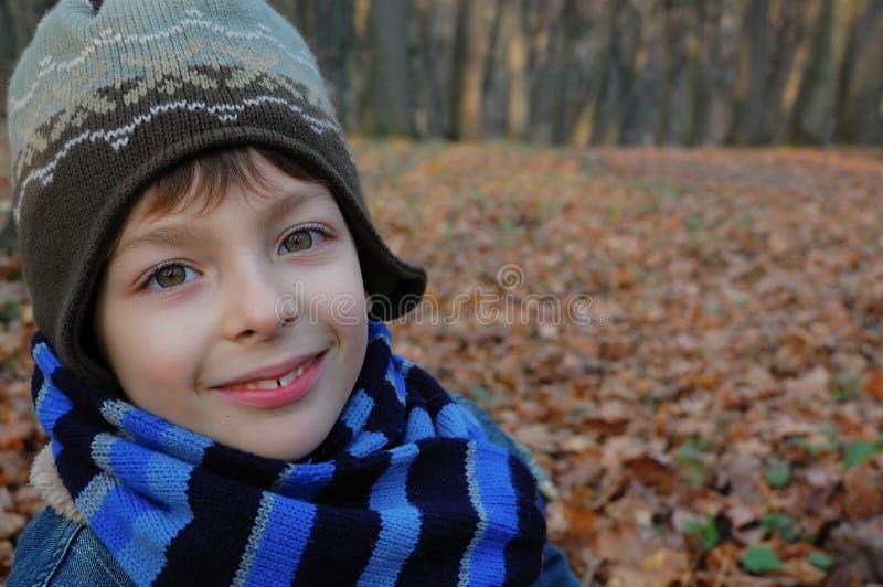 Muchacho sonriente del retrato del otoño imagen de archivo