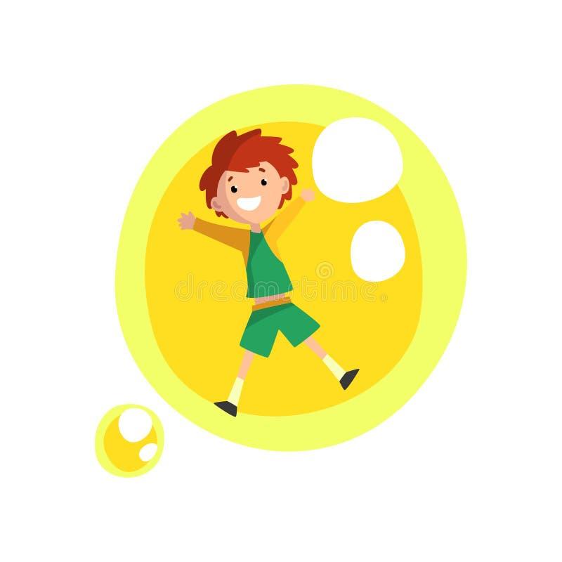 Muchacho sonriente lindo que se divierte dentro de un ejemplo amarillo gigante del vector de la historieta de la burbuja de jabón ilustración del vector