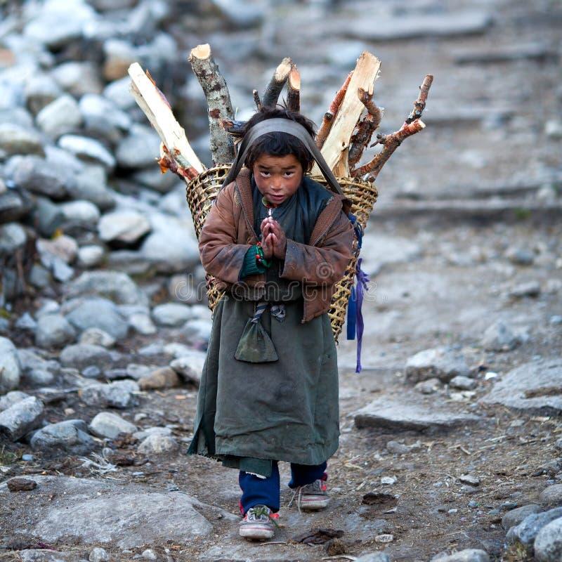 Muchacho tibetano, Nepal imagen de archivo libre de regalías