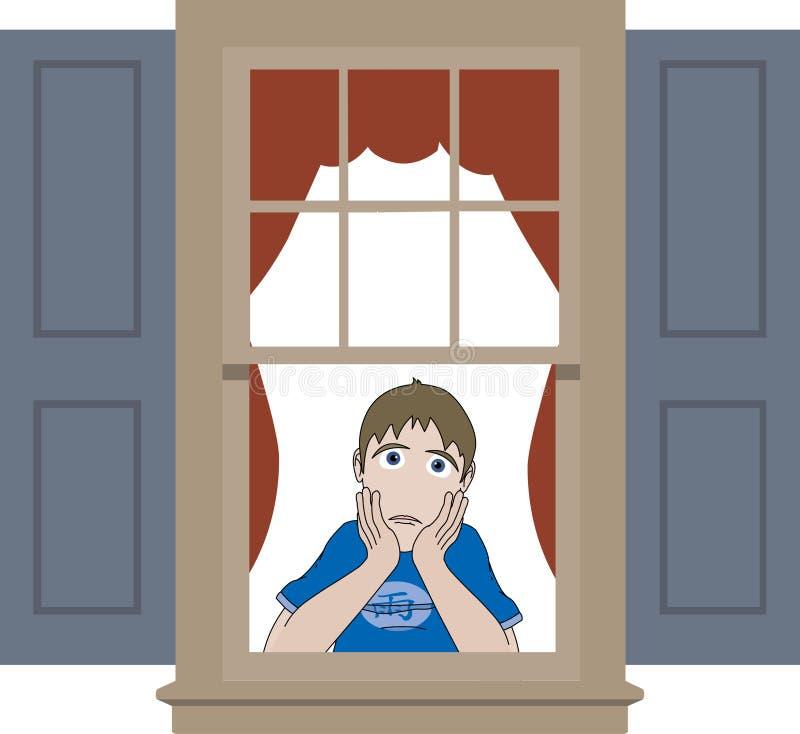 Muchacho triste que se inclina en travesaño de la ventana stock de ilustración