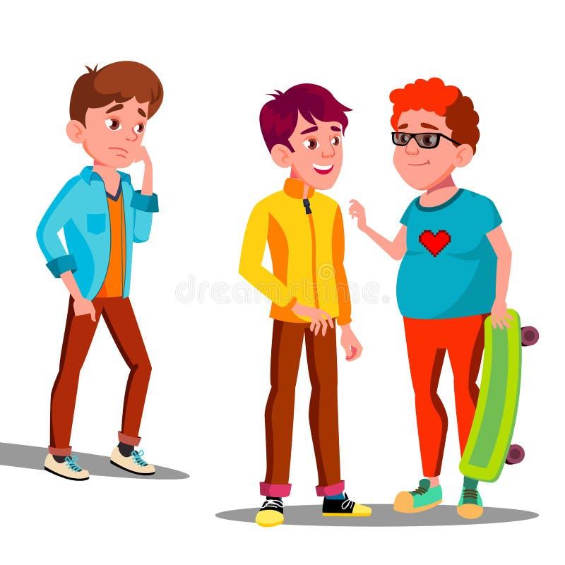 Muchacho triste solamente entre un vector de los adolescentes de los amigos Ilustración aislada ilustración del vector