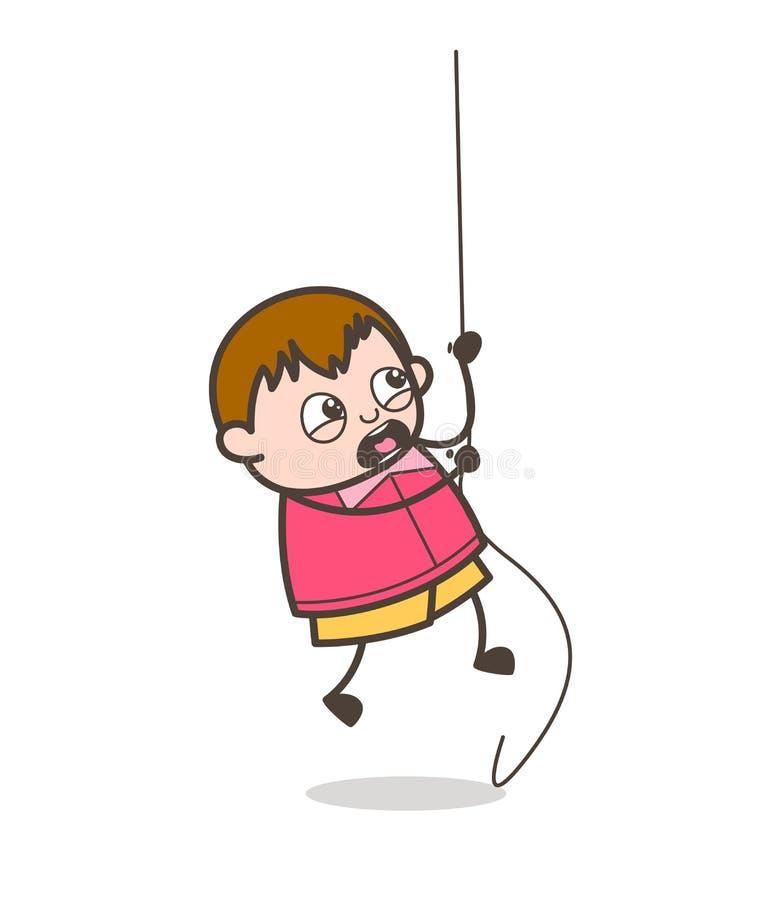 Muchacho valiente que intenta subir la cuerda - ejemplo gordo del niño de la historieta linda libre illustration