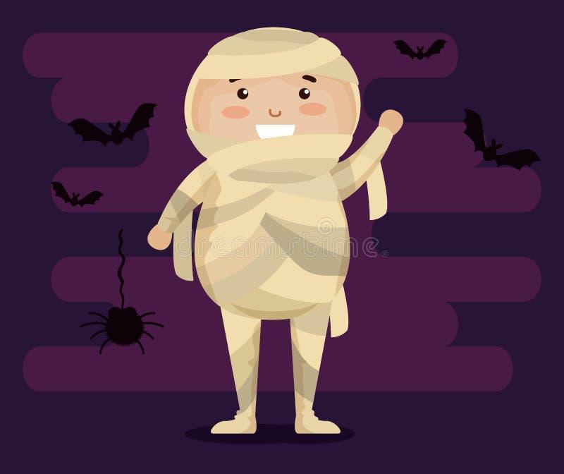 Muchacho vestido encima como de momia ilustración del vector