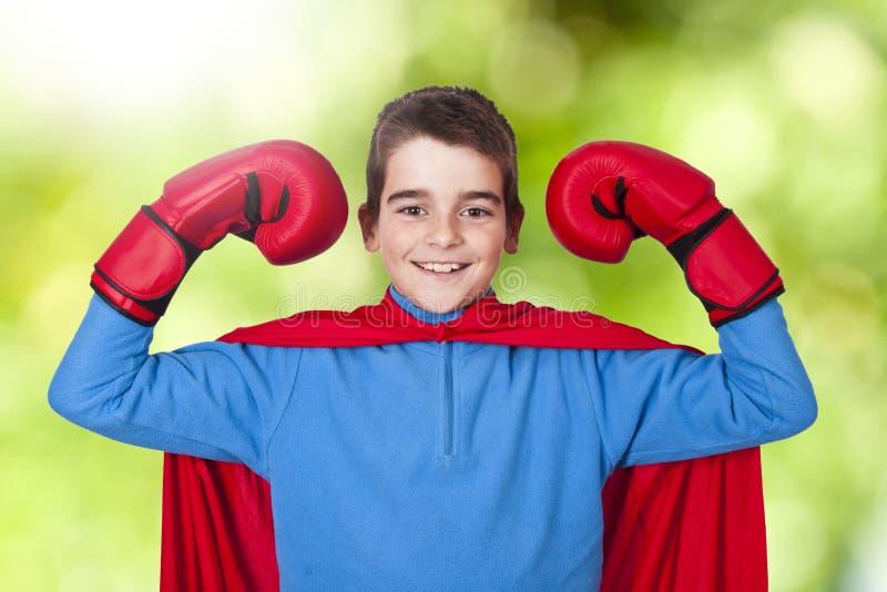 Muchacho vestido encima como de super héroe fotos de archivo libres de regalías