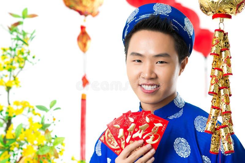 Muchacho vietnamita en Tet fotografía de archivo libre de regalías