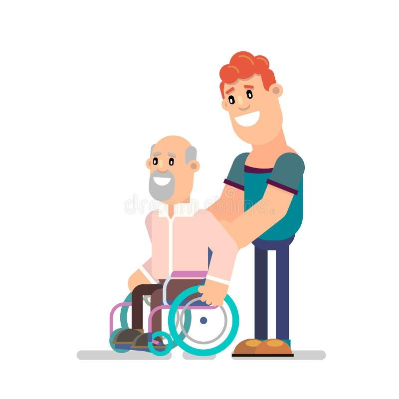 Muchacho y abuelo jovenes en una silla de ruedas libre illustration
