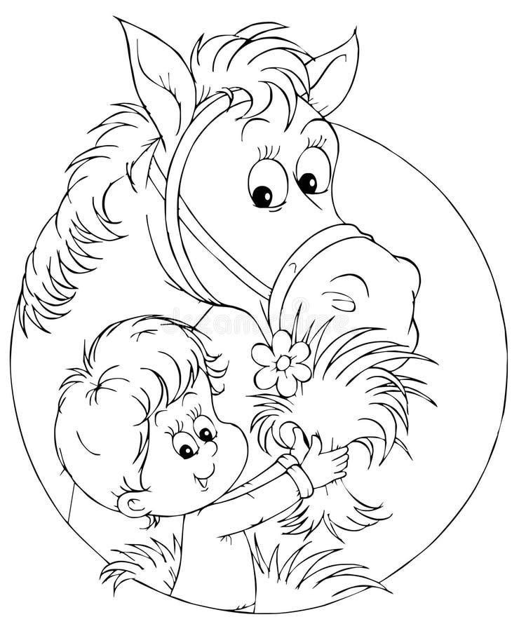 Muchacho y caballo ilustración del vector