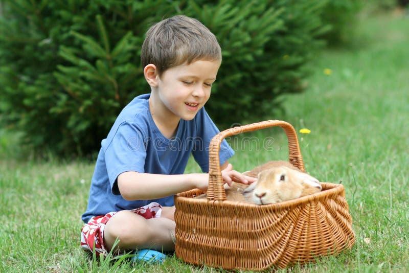 Muchacho y conejo foto de archivo