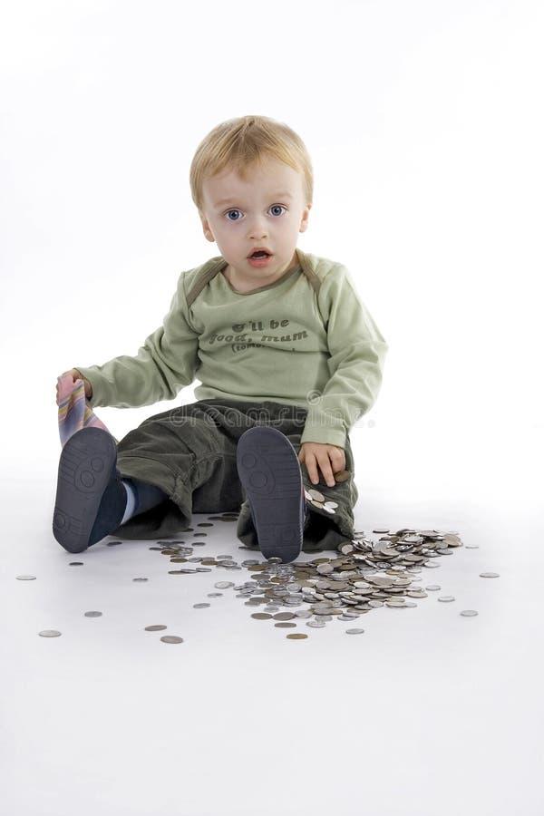 Muchacho y dinero imagen de archivo