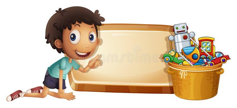 Muchacho y juguetes en el cubo stock de ilustración