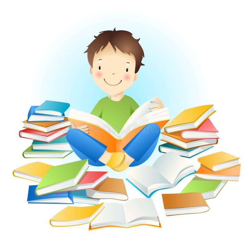 Muchacho y libros. stock de ilustración