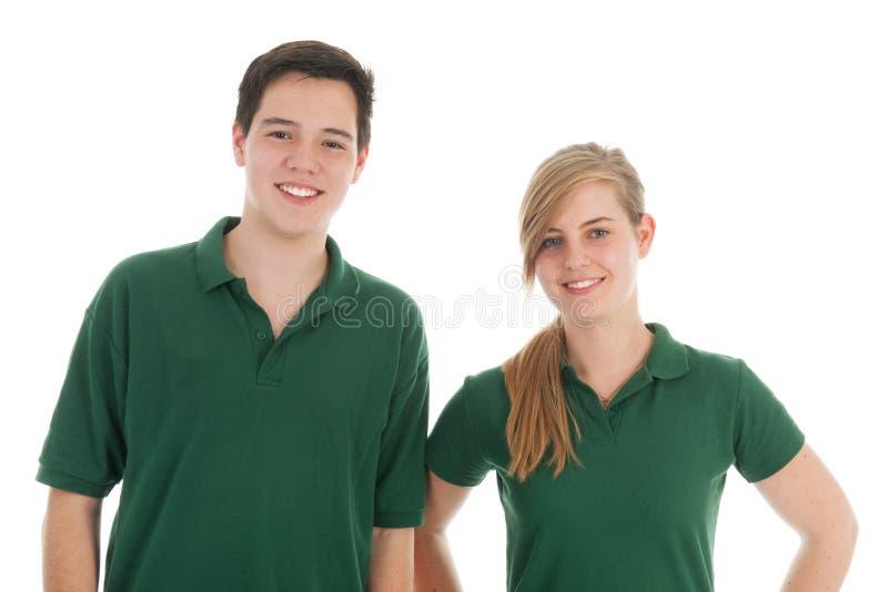 Muchacho y muchacha adolescentes del retrato imagenes de archivo