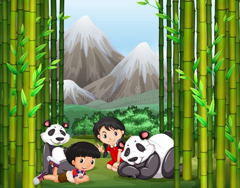 Muchacho y muchacha asiáticos con la panda libre illustration