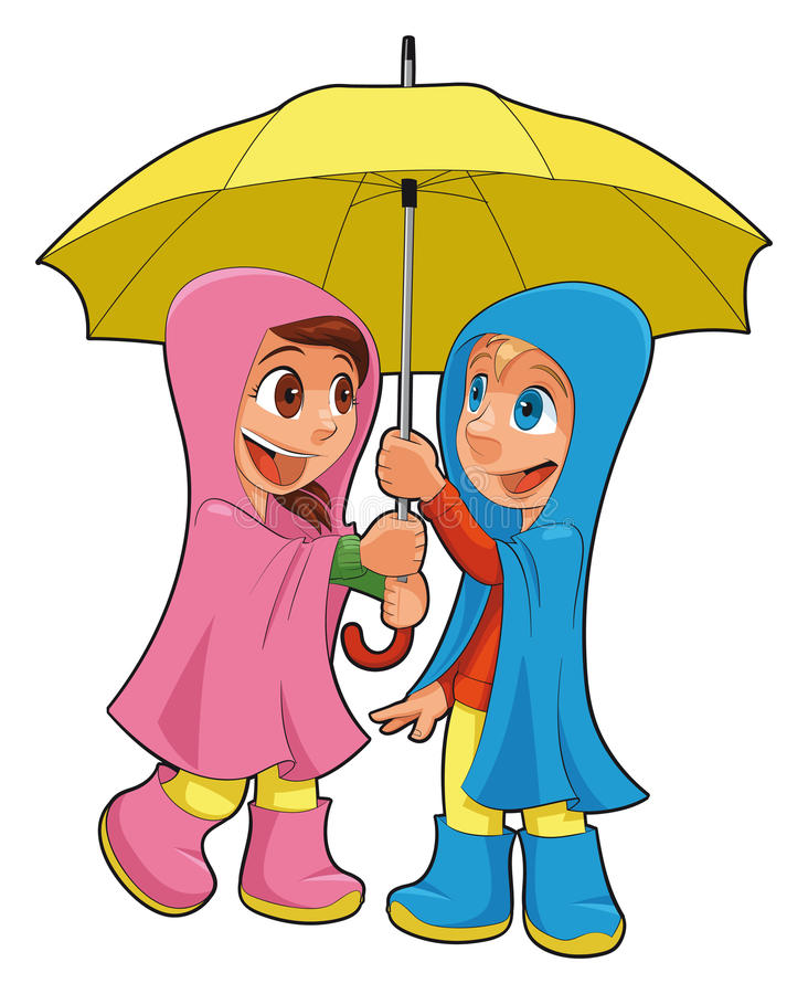 Muchacho y muchacha bajo el paraguas. libre illustration