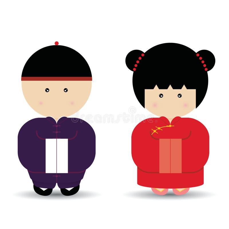 Muchacho y muchacha chinos ilustración del vector