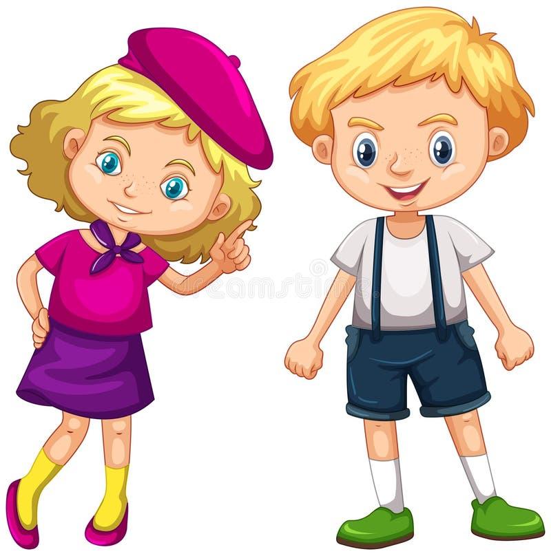 Muchacho y muchacha con el pelo rubio libre illustration