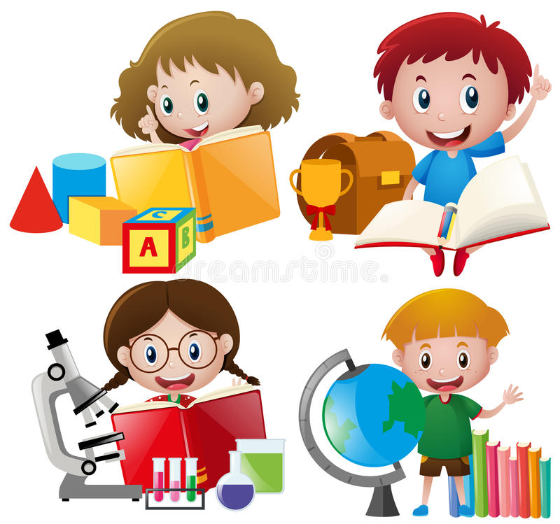 Muchacho y muchacha con equipos de escuela stock de ilustración