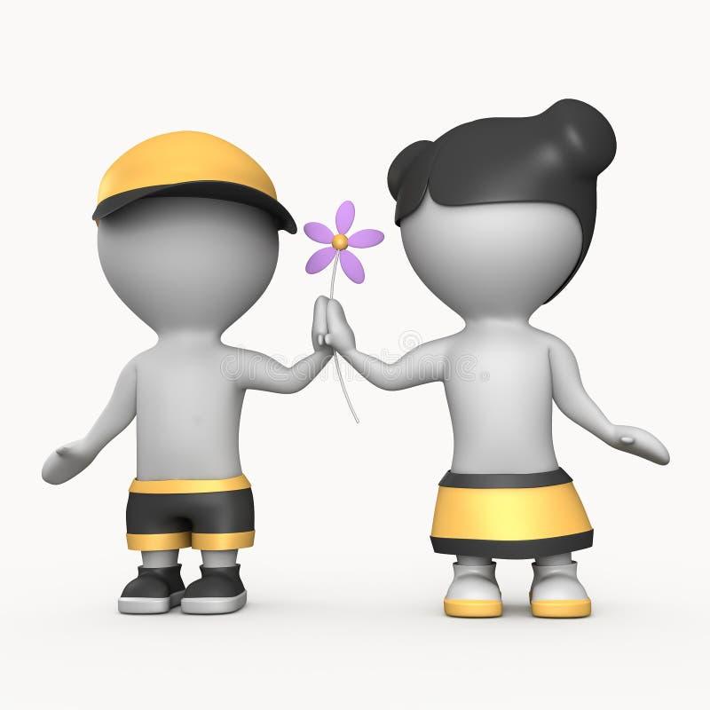 Muchacho y muchacha con la ilustración de la flor 3D foto de archivo