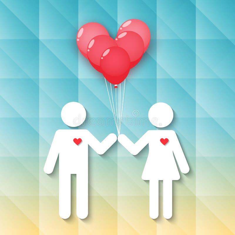 Muchacho y muchacha con los globos rojos del corazón ilustración del vector