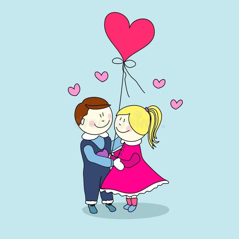 Muchacho y muchacha, día de tarjeta del día de San Valentín ilustración del vector