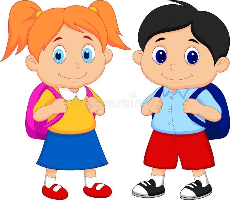 Muchacho y muchacha de la historieta con las mochilas ilustración del vector
