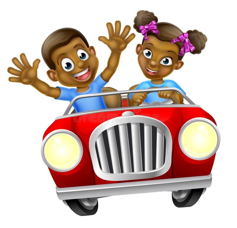 Muchacho y muchacha de la historieta que conducen el coche ilustración del vector