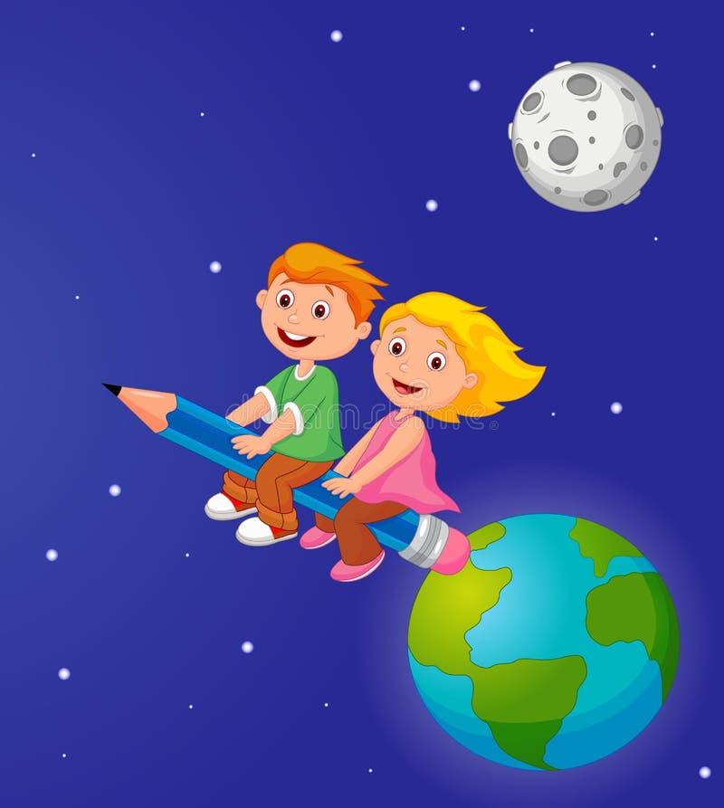 Muchacho y muchacha de la historieta que montan un lápiz que sale de la tierra libre illustration