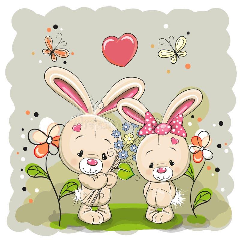 Muchacho y muchacha del conejo libre illustration