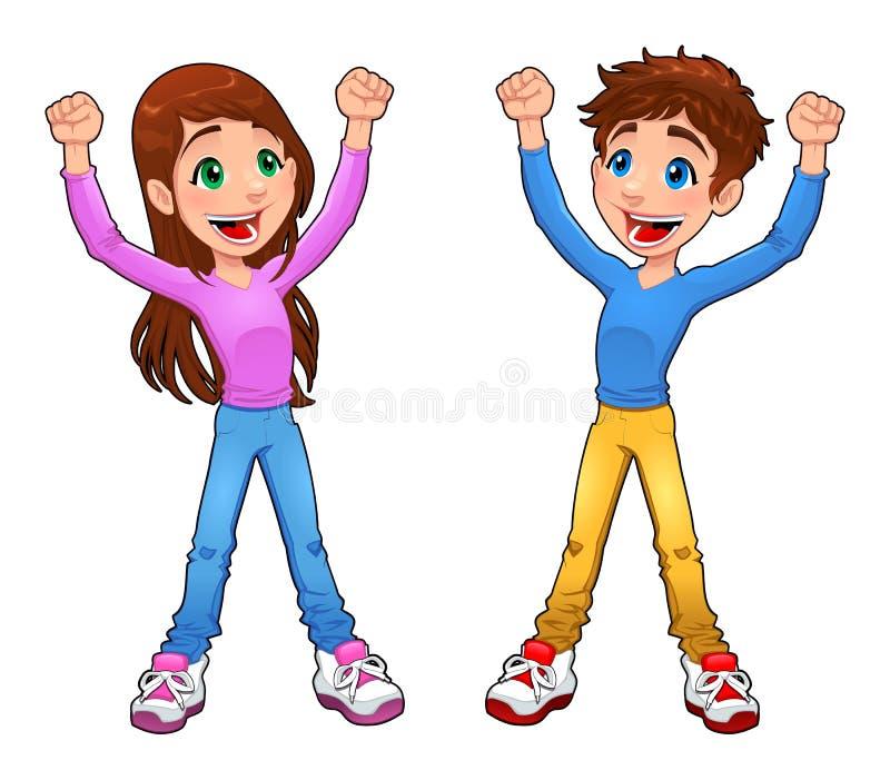Muchacho y muchacha del entusiasta. stock de ilustración