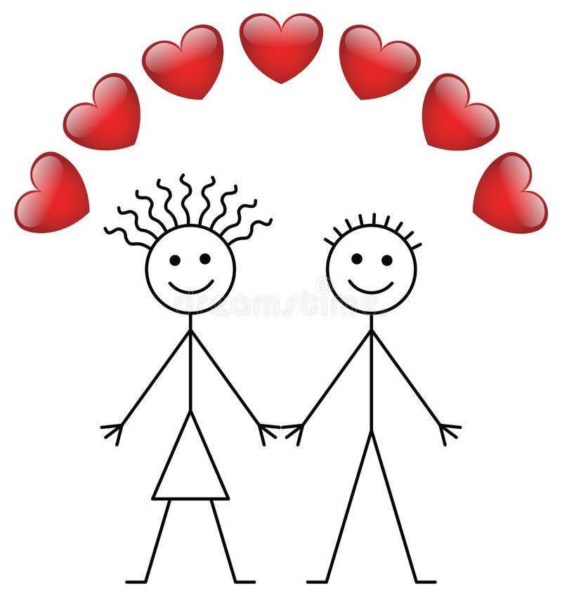 Muchacho y muchacha del palillo de la tarjeta del día de San Valentín libre illustration