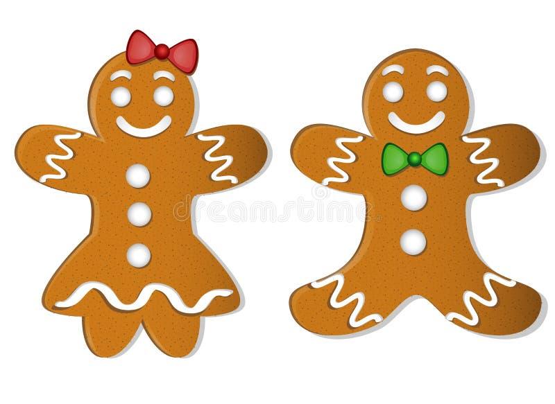 Muchacho y muchacha del pan de jengibre de la Navidad dos con los arcos stock de ilustración