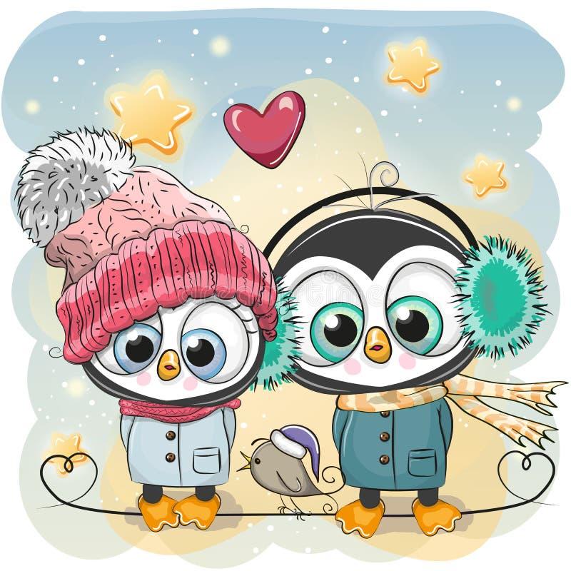 Muchacho y muchacha del pingüino del ejemplo del invierno en sombreros y capas ilustración del vector