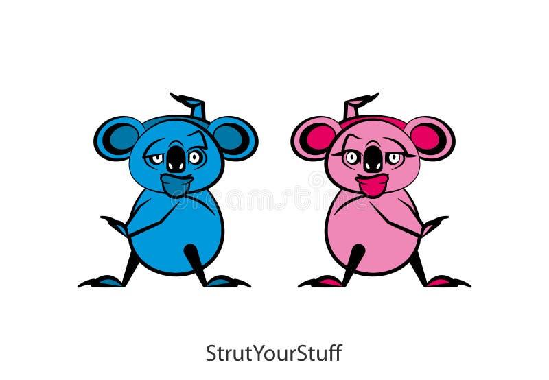 Muchacho y muchacha divertidos del color de la koala ilustración del vector