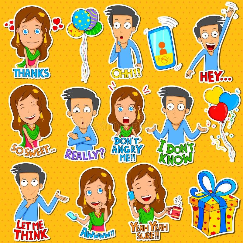 Muchacho y muchacha Emoji para diversa sensación de la expresión libre illustration