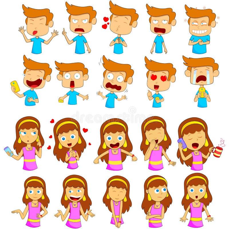 Muchacho y muchacha Emoji para diversa sensación de la expresión ilustración del vector